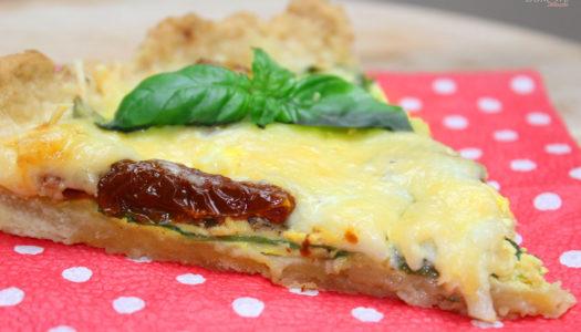 Quiche ze szpinakiem, suszonymi pomidorami i mozzarellą